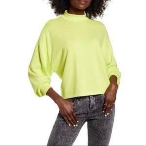 All In Favor Neon Yellow Mock Neck Sweatshirt